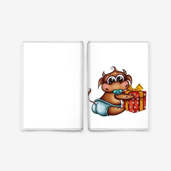 Обложка для паспорта «Малыш Бычок с подарком »