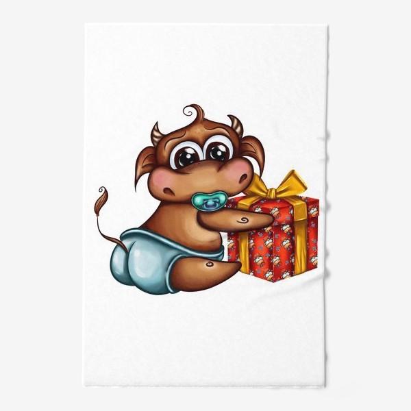 Полотенце «Малыш Бычок с подарком »