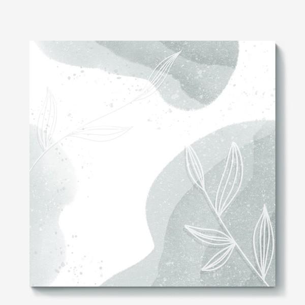 Холст «Нежные веточки мятно зеленые на белом»