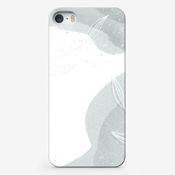 Чехол iPhone «Нежные веточки мятно зеленые на белом»