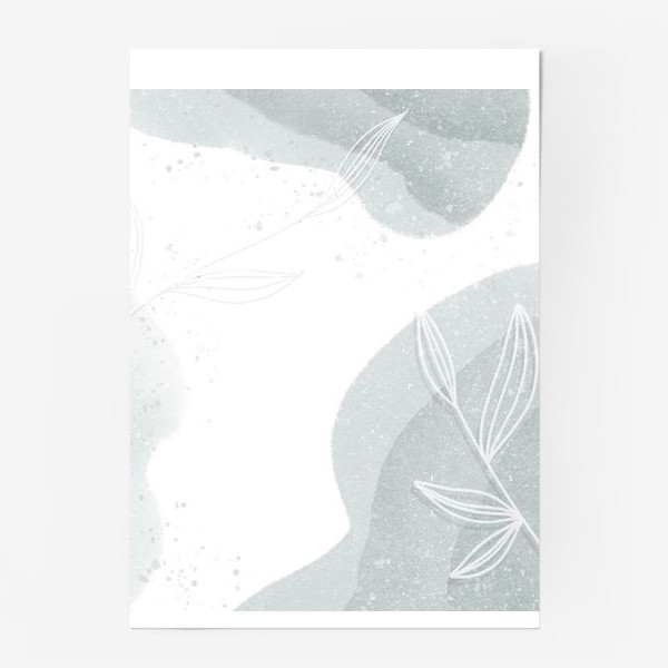 Постер «Нежные веточки мятно зеленые на белом»