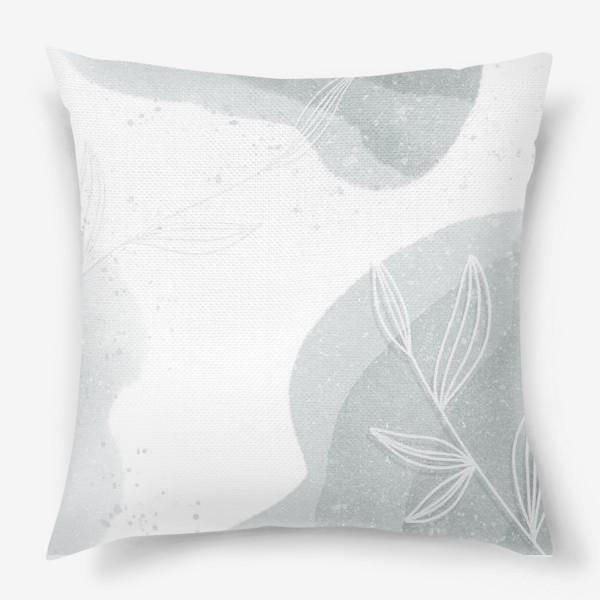 Подушка «Нежные веточки мятно зеленые на белом»