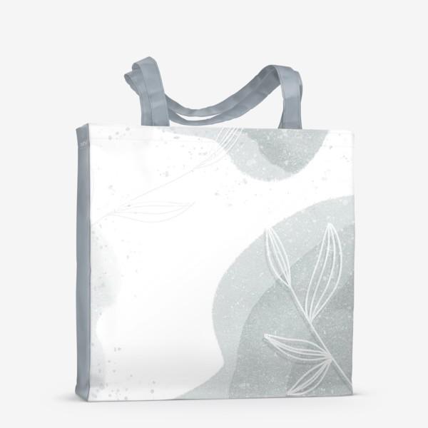 Сумка-шоппер «Нежные веточки мятно зеленые на белом»