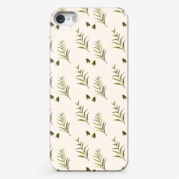 Чехол iPhone «Листья на бежевом»