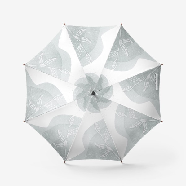 Зонт «Нежные веточки мятно зеленые на белом»