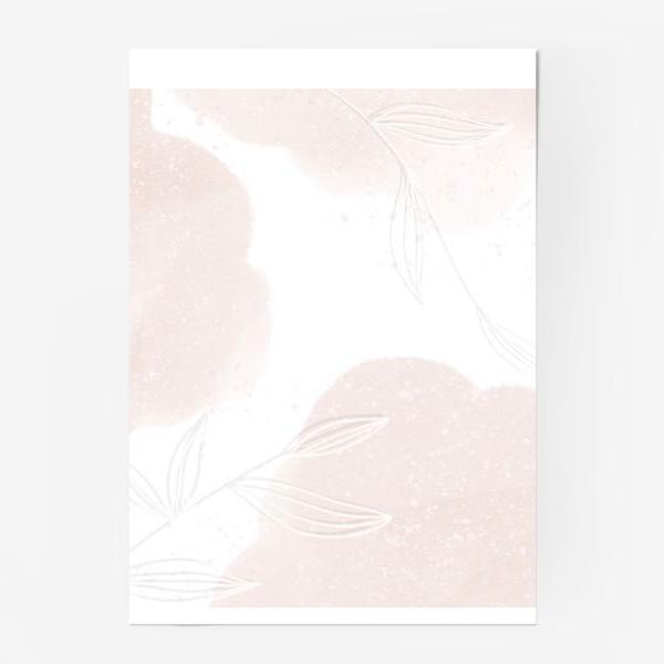 Постер «Белые веточки нежные акварельные пятна на белом»