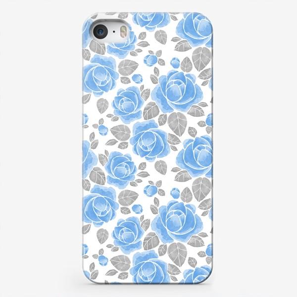 Чехол iPhone «Голубые розы. Акварельный паттерн»