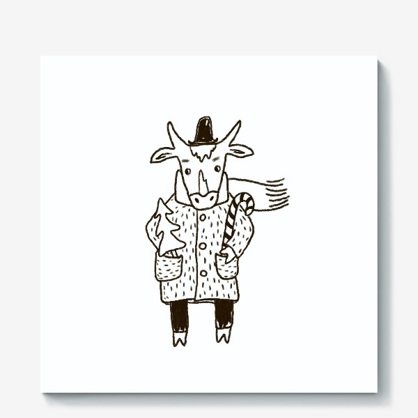Холст «Бык в пальто и шляпе с ёлкой»