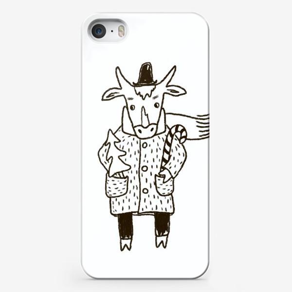 Чехол iPhone «Бык в пальто и шляпе с ёлкой»