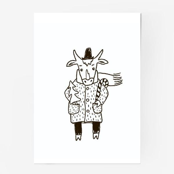 Постер «Бык в пальто и шляпе с ёлкой»