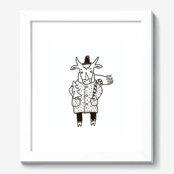 Картина «Бык в пальто и шляпе с ёлкой»