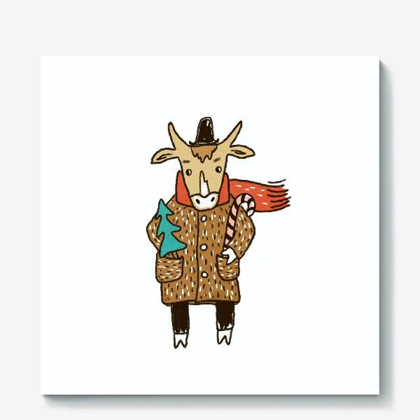 Холст «Бык в пальто и шляпе с ёлкой цветной»