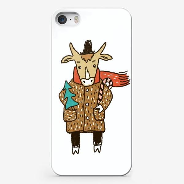 Чехол iPhone «Бык в пальто и шляпе с ёлкой цветной»