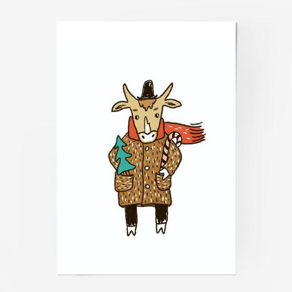 Постер «Бык в пальто и шляпе с ёлкой цветной»