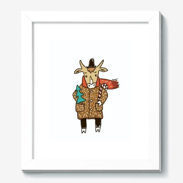 Картина «Бык в пальто и шляпе с ёлкой цветной»