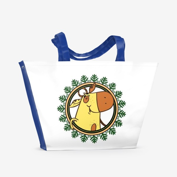 Пляжная сумка «Новогодний бычок»