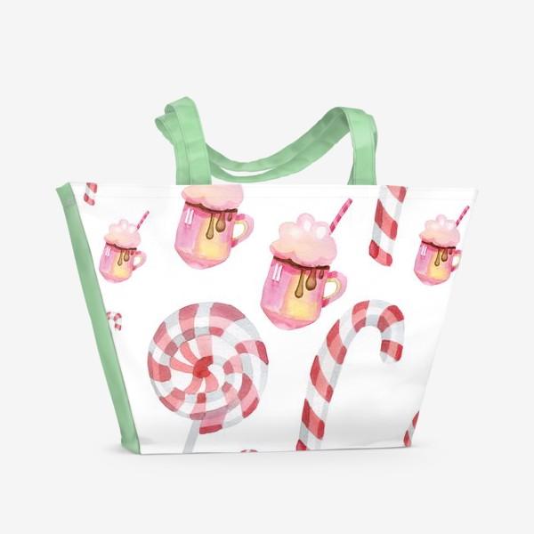 Пляжная сумка «Сладости на Новый год»