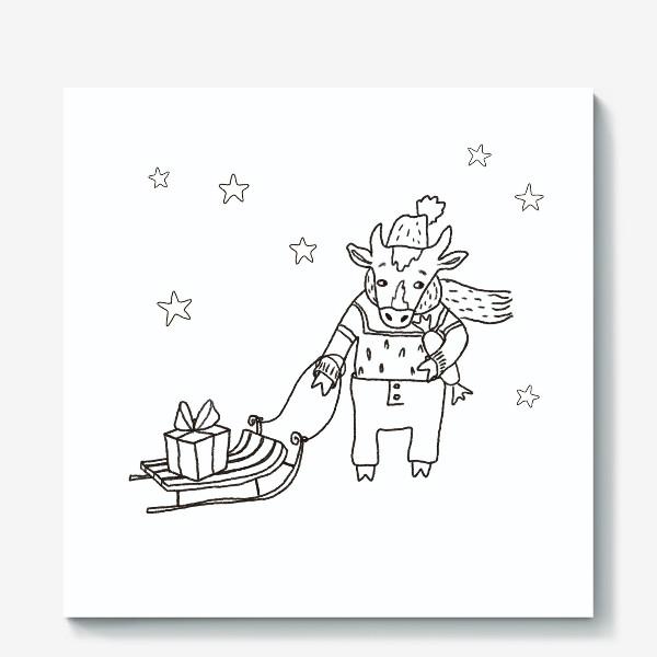 Холст «Бык с санками и подарками, в шапке, свитере и штанах. Новогодний символ.»