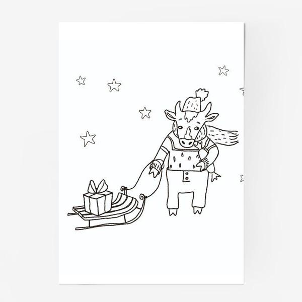 Постер «Бык с санками и подарками, в шапке, свитере и штанах. Новогодний символ.»