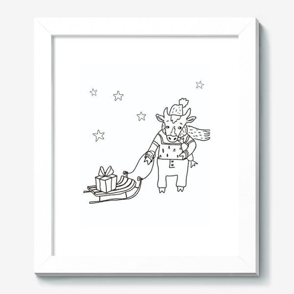 Картина «Бык с санками и подарками, в шапке, свитере и штанах. Новогодний символ.»