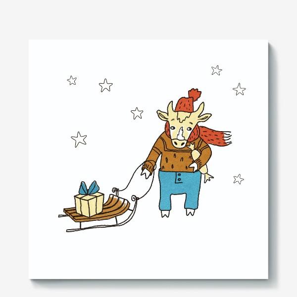 Холст «Бык с санками и подарками, в шапке, свитере и штанах. Новогодний символ. Цветной.»