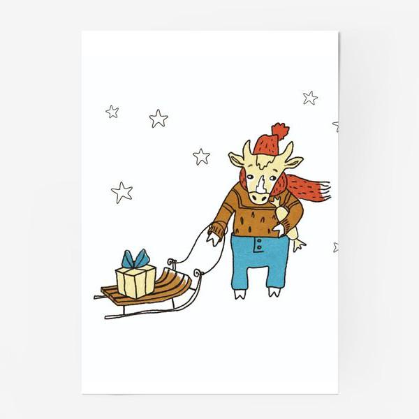 Постер «Бык с санками и подарками, в шапке, свитере и штанах. Новогодний символ. Цветной.»