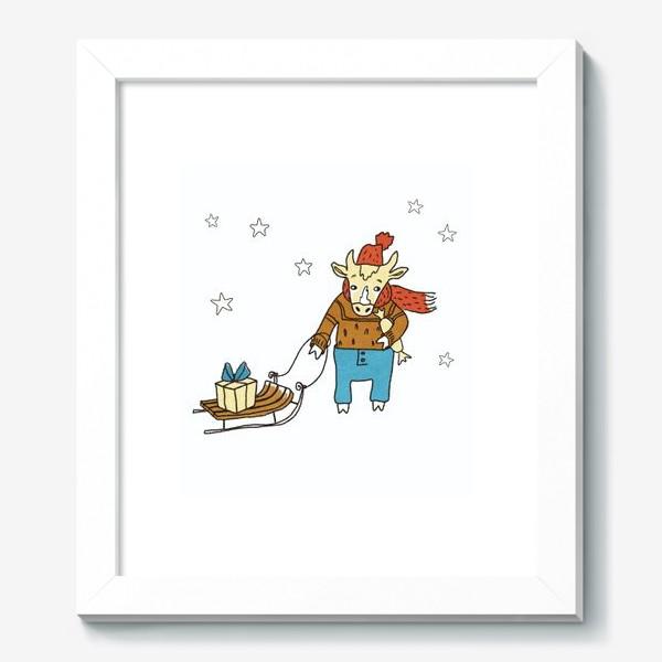 Картина «Бык с санками и подарками, в шапке, свитере и штанах. Новогодний символ. Цветной.»