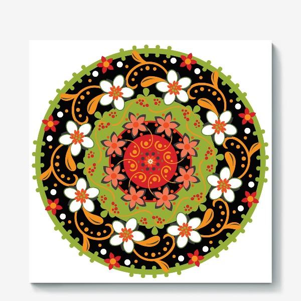 Холст «Цветочный узор в русском народном стиле»
