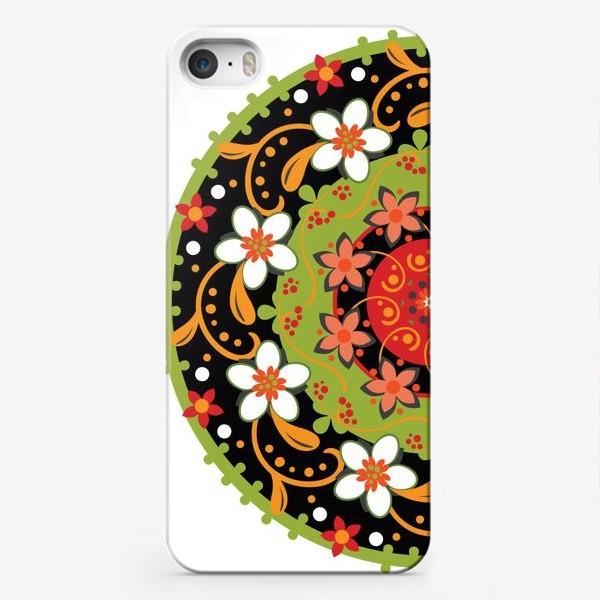 Чехол iPhone «Цветочный узор в русском народном стиле»