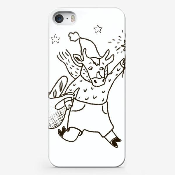 Чехол iPhone «Бык с авоськой и бенгальским огнем »