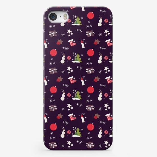 Чехол iPhone «Снеговик, елки, шарики, подарки,свечи, звезды, снежинки»