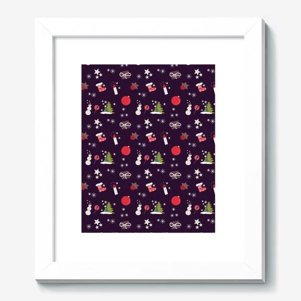 Картина «Снеговик, елки, шарики, подарки,свечи, звезды, снежинки»