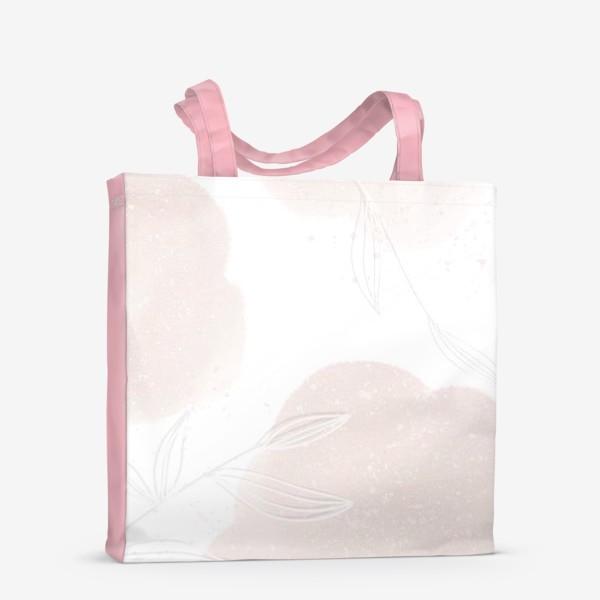 Сумка-шоппер «Белые веточки нежные акварельные пятна на белом»