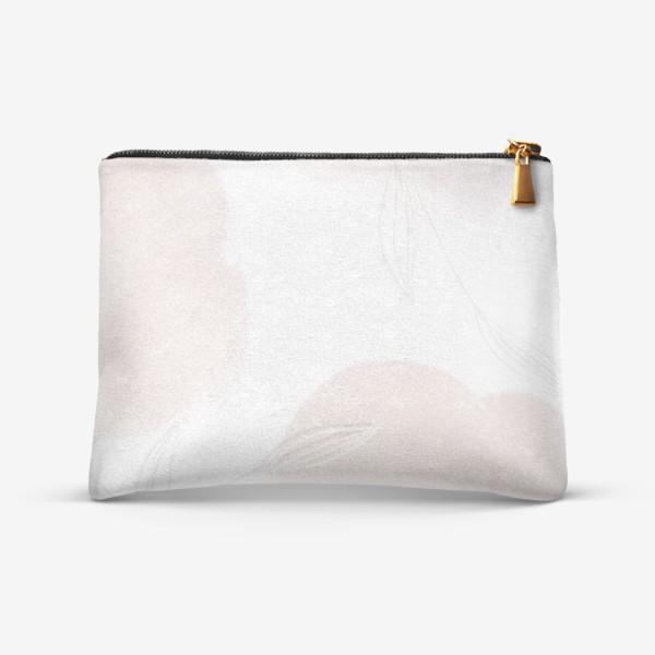 Косметичка «Белые веточки нежные акварельные пятна на белом»