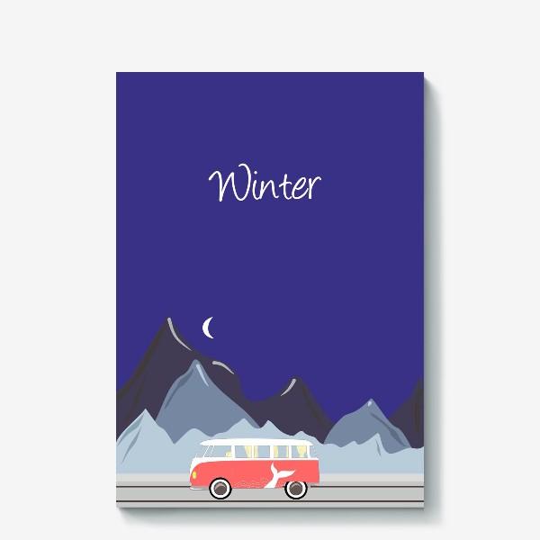 Холст «Ретро автобус на дороге, горы и луна»