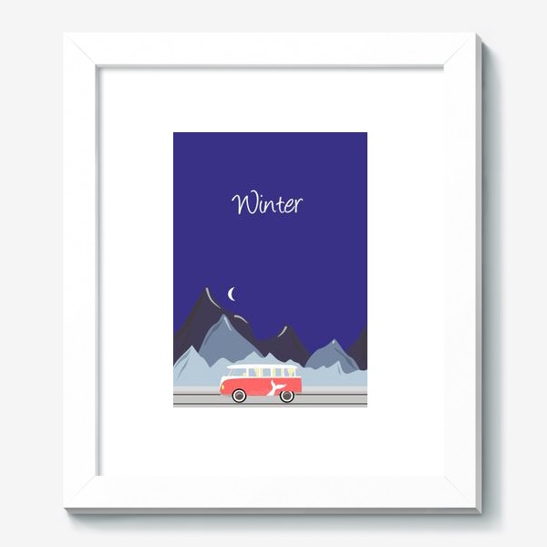 Картина «Ретро автобус на дороге, горы и луна»