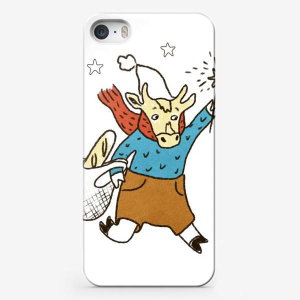 Чехол iPhone «Бык с авоськой и бенгальским огнем цветной»