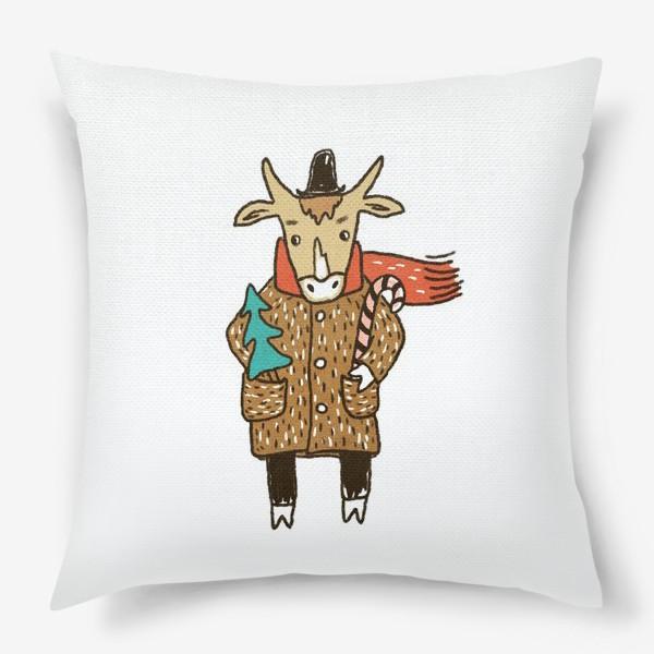 Подушка «Бык в пальто и шляпе с ёлкой цветной»