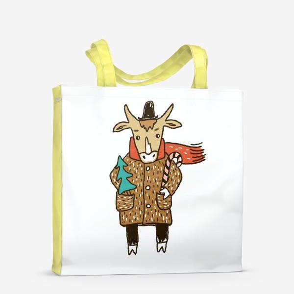 Сумка-шоппер «Бык в пальто и шляпе с ёлкой цветной»