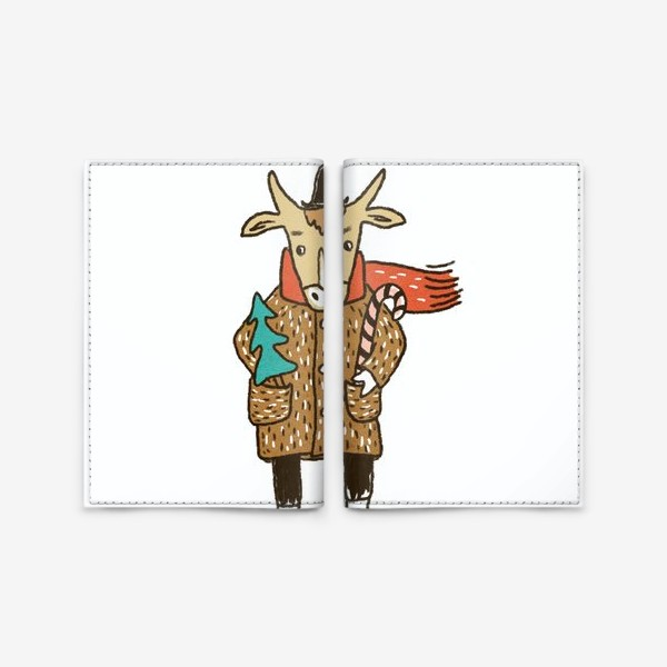 Обложка для паспорта «Бык в пальто и шляпе с ёлкой цветной»