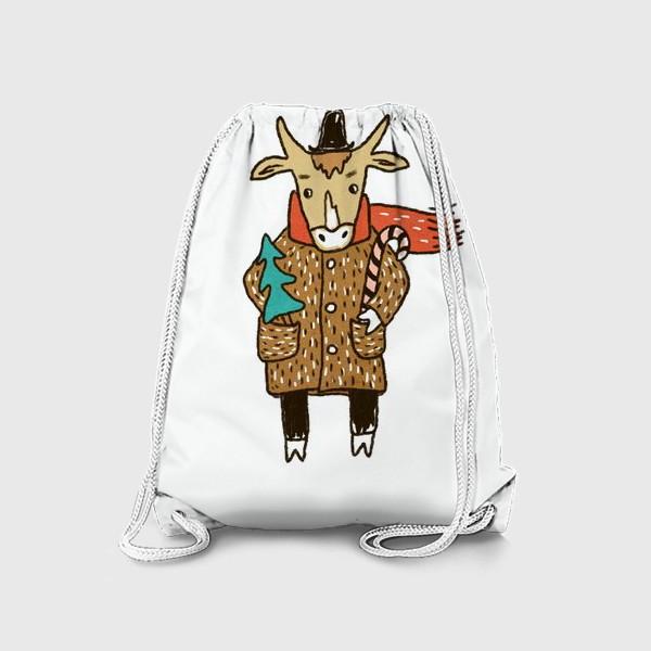 Рюкзак «Бык в пальто и шляпе с ёлкой цветной»