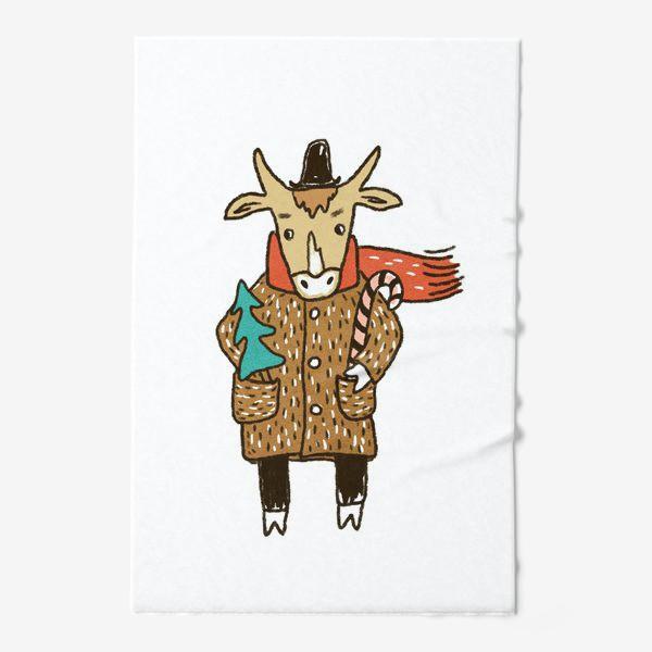 Полотенце «Бык в пальто и шляпе с ёлкой цветной»