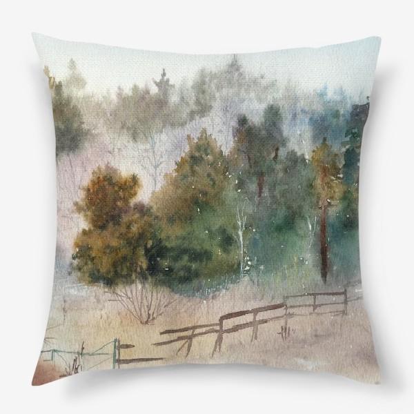 Подушка «Акварельный пейзаж, сосновый лес »