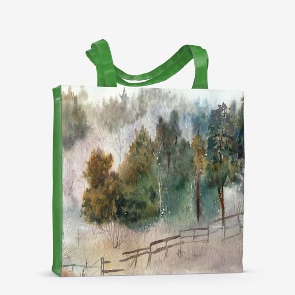 Сумка-шоппер «Акварельный пейзаж, сосновый лес »