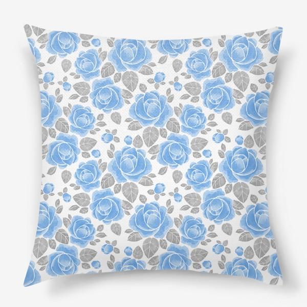 Подушка «Голубые розы. Акварельный паттерн»