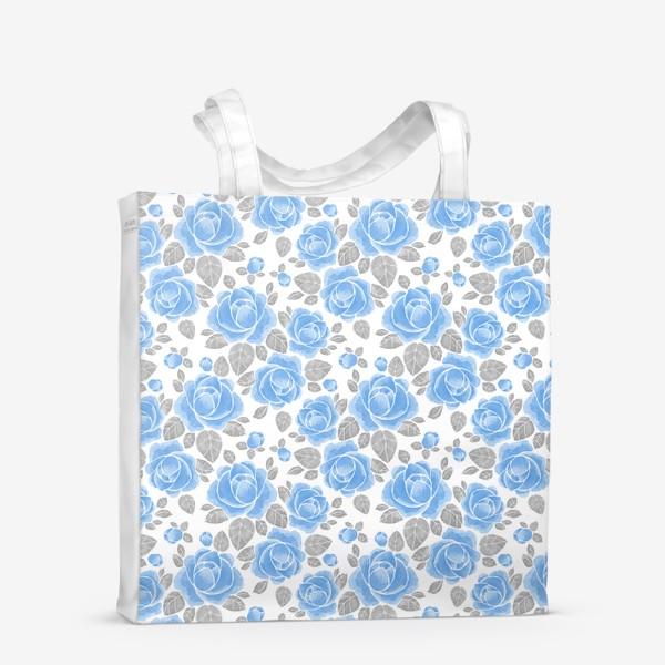 Сумка-шоппер «Голубые розы. Акварельный паттерн»