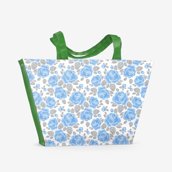 Пляжная сумка «Голубые розы. Акварельный паттерн»