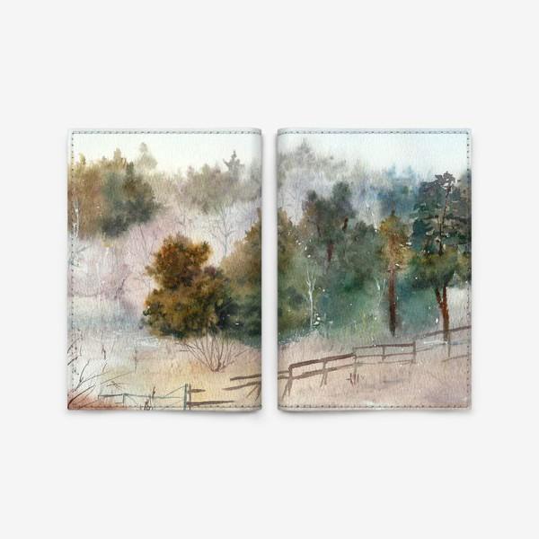Обложка для паспорта «Акварельный пейзаж, сосновый лес »