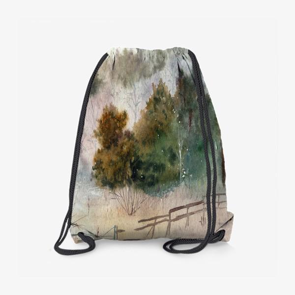 Рюкзак «Акварельный пейзаж, сосновый лес »