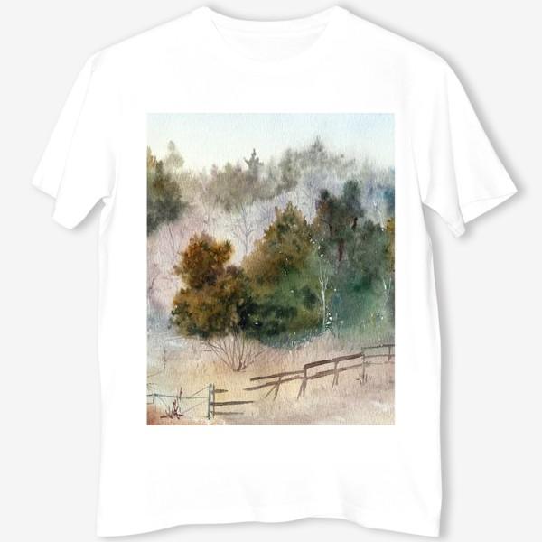 Футболка «Акварельный пейзаж, сосновый лес »